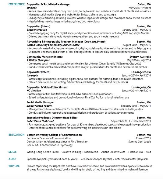 Lauren Beader Copywriter Resume  Copywriter Resume