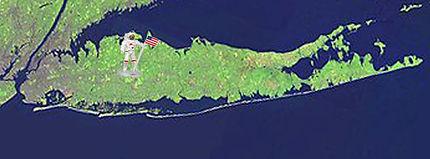 satellite image of Long Island, NY with Apollo astronaut toy