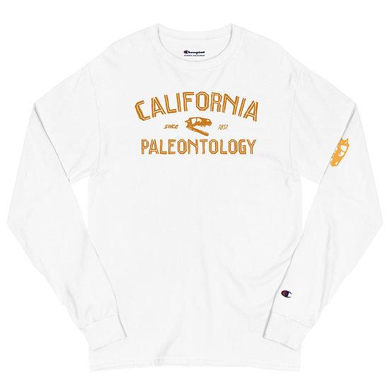 Edward Cope California Paleontology Long Sleeve Champion Shirt w/Skull (Orange)