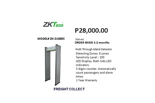 ZKTECO WALK THROUGH DETECTOR MODEL#ZK-D1065S
