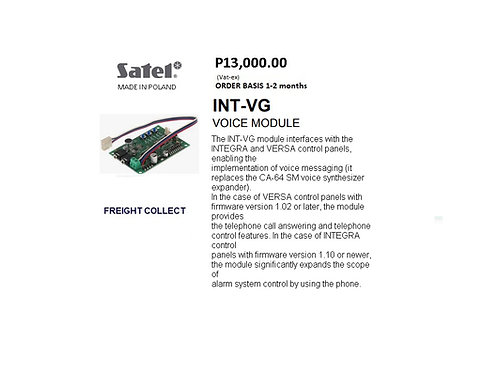 SATEL  INTRUSION ALARM VOICE MODULE MODEL#INT-VG