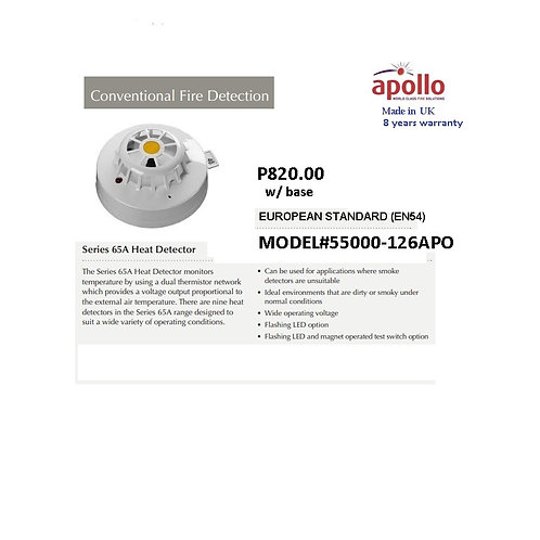 APOLLO CONVENTIONAL HEAT DETECTOR  EN 54  Model# 55000-126