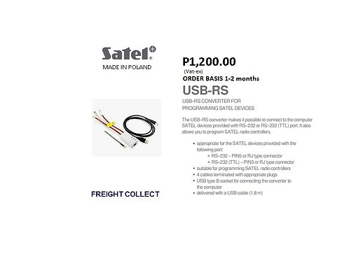 SATEL  INTRUSION CONVERTER PROGRAMMING CABLE  MODEL#USB-RS