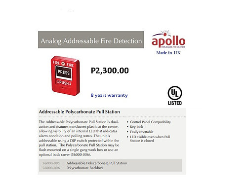 APOLLO ADDRESSABLE MANUAL PULL STATION  UL LISTED  Model# 56000-005