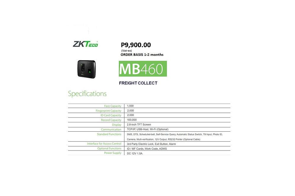 ZKTECO BIOMETRICS MODEL#MB460