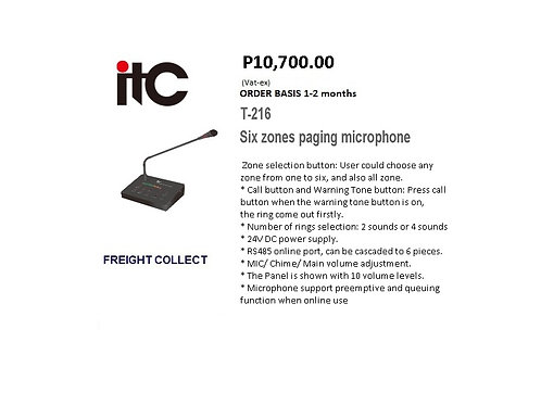 ITC PAGING MICROPHONE MODEL#T-216