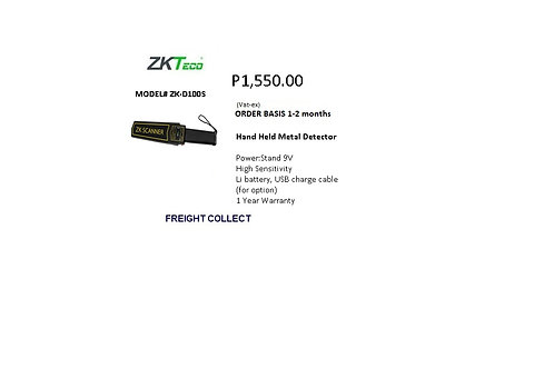 ZKTECO HAND HELD METAL DETECTOR MODEL#ZK-D100S