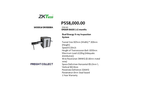 ZKTECO X-RAY INSPECTION SYSTEM MODEL# ZKX5030A