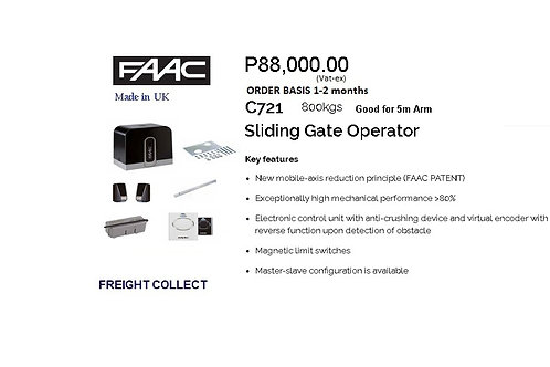 FAAC SLIDING GATE 800KG  5m MODEL#C721