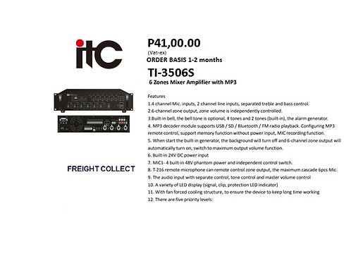 ITC AMPLIFIER 350WATTS MODEL#TI-3506S