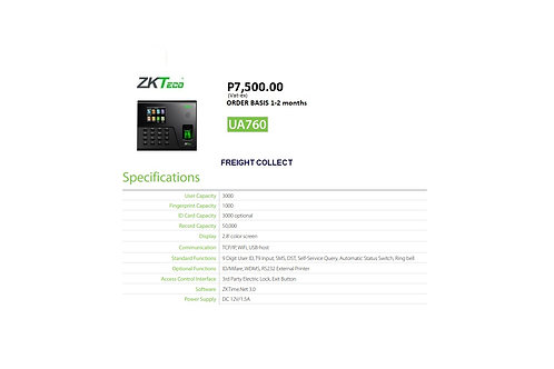ZKTECO BIOMETRICS MODEL#UA760
