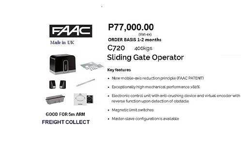 FAAC SLIDING GATE 400KG  5m MODEL#C720