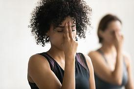 During yoga class women do Alternate Nos