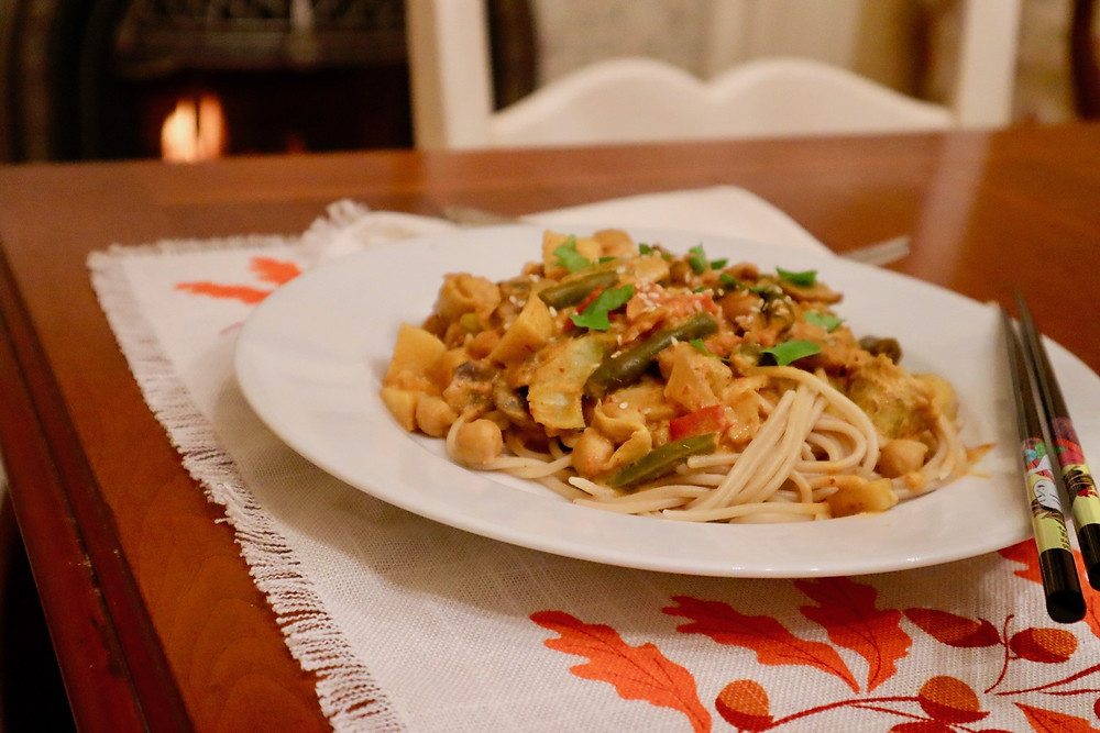 Vegan Thai Pasta - red curry sauce over pasta with assorted vegetables