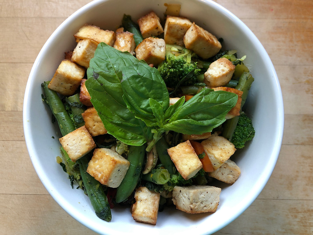 Plant-based tofu, broccoli, green bean, carrot, tofu bowl
