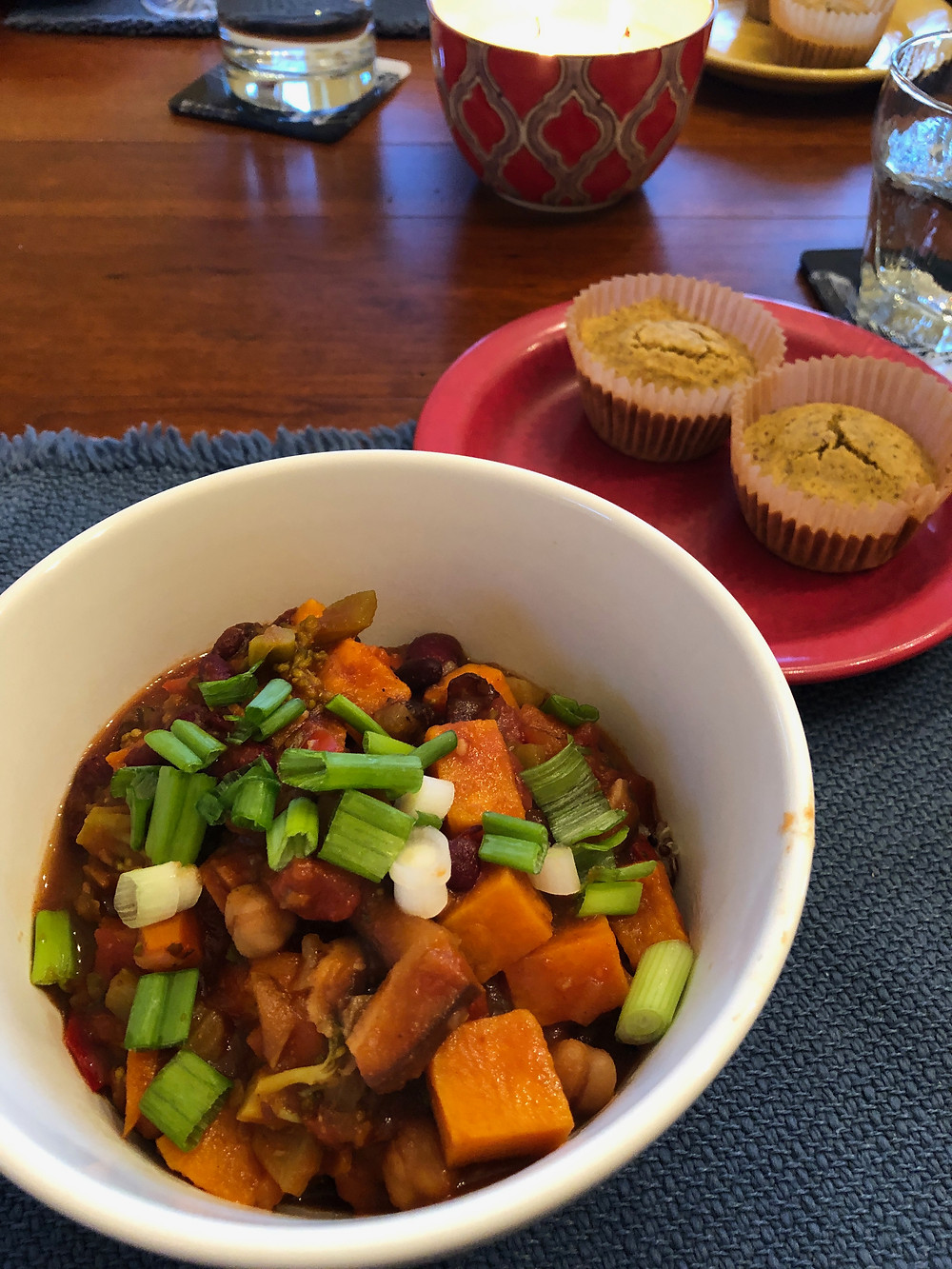 Plant-based Sweet Potato Chili with Cornbread Muffins