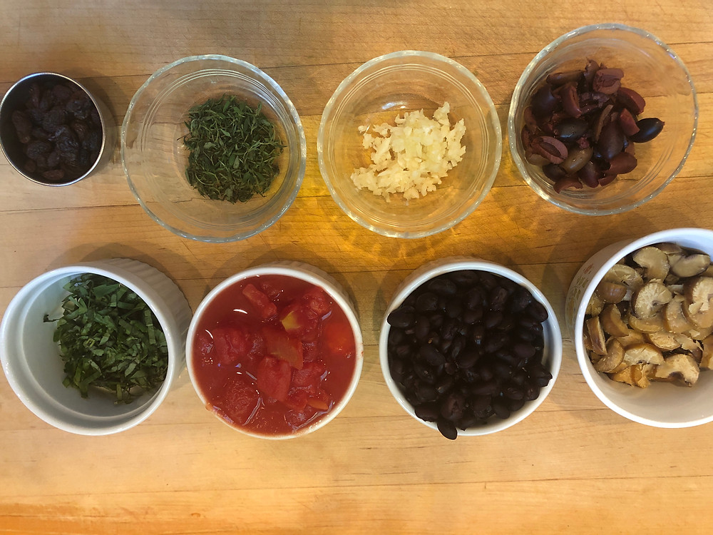 Ingredients for Pasta with Chestnuts and Raisins