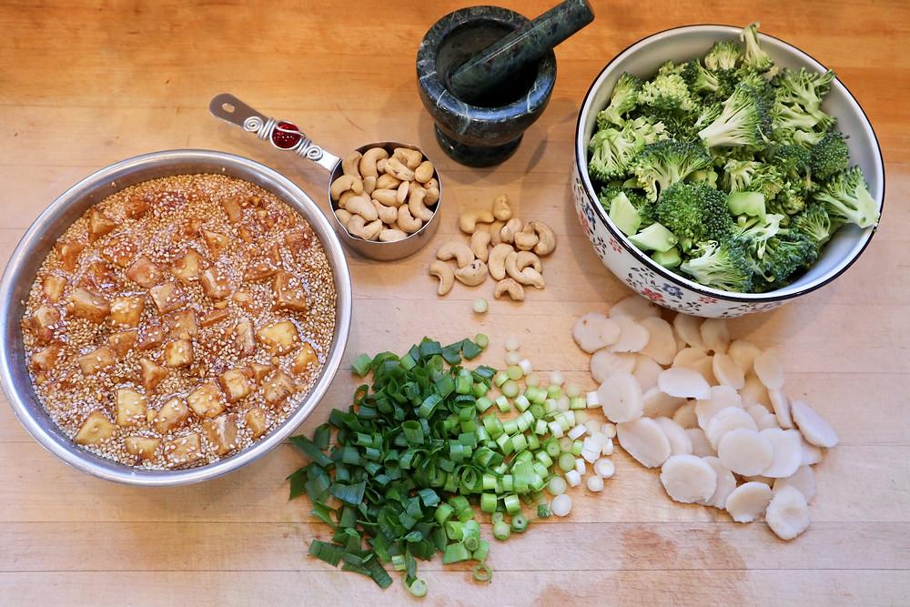 Ingredients for Vegan Kung Pao Tofu