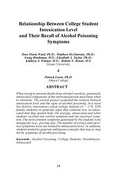 Relationship between college student intoxication level and their recall of alcohol poisoning symptoms