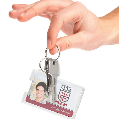 Rigid One-Card Holder with Key Ring