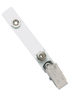 """Embossed """"U"""" Bulldog Clip with Clear Vinyl Strap and Permanent Snap"""