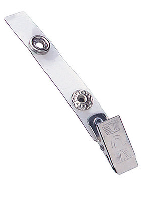 "Embossed ""U"" Bulldog Clip with Clear Vinyl Strap"