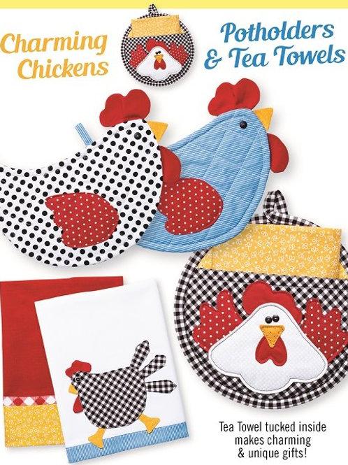 CG176 - Charming Chickens Potholders & Tea Towels