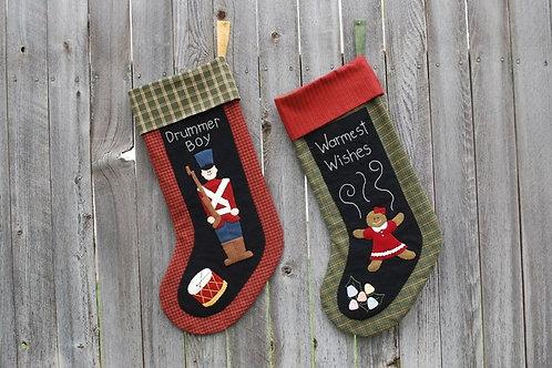 UGM105 -Drummer Boy & Gingerbread Girl Stocking