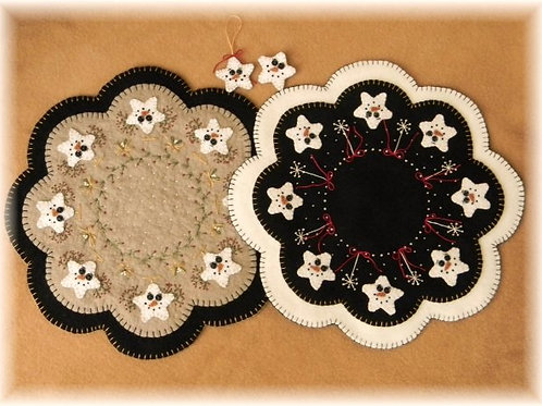 PLP130 -  Starry Night Penny Rug Candle Mat