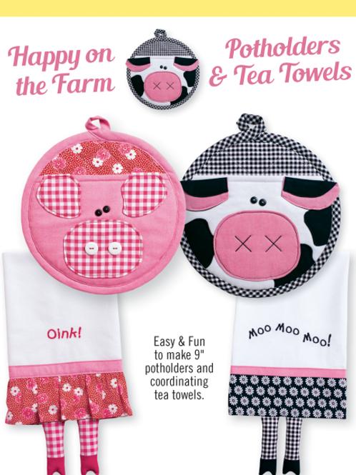 CG178 - Happy on the Farm Potholders & Tea Towels