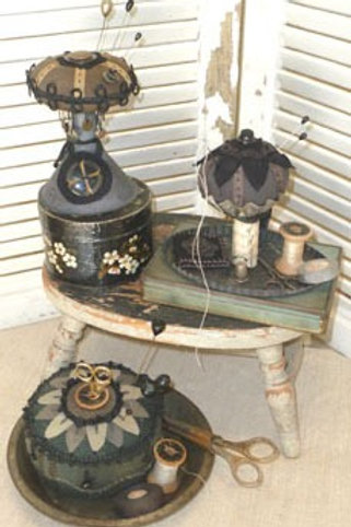 HTH322 -Tin-Cushions Pincushions on Tin Funnel Candlesticks and Pie Plate