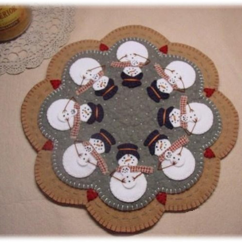 PLP109 - Snowmoms Penny Rug Candle Mat