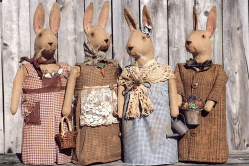 HHF462 - Folk Art Rabbits