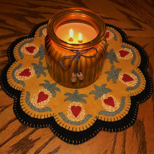 """PLP158 -  Colonial Welcome Candle Mat 12"""""""