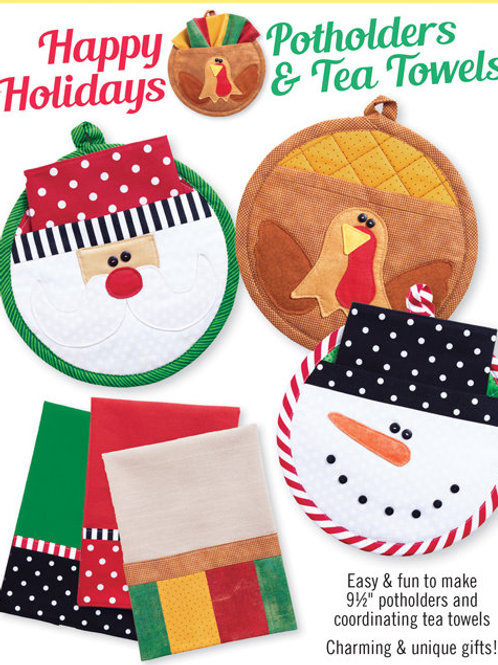 CG175 - Happy Holidays Potholders & Tea Towels