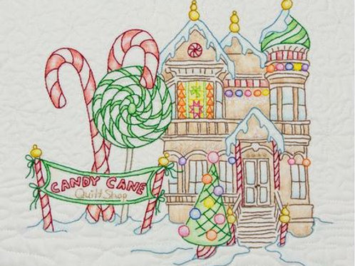 CAH 2517 Gingerbread Square Candy Cane Quilt Shop #6