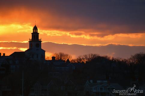 Orange Sunset Over Town