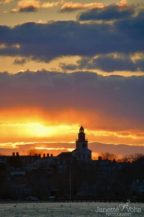 Vibrant Sunset Over Nantucket Town