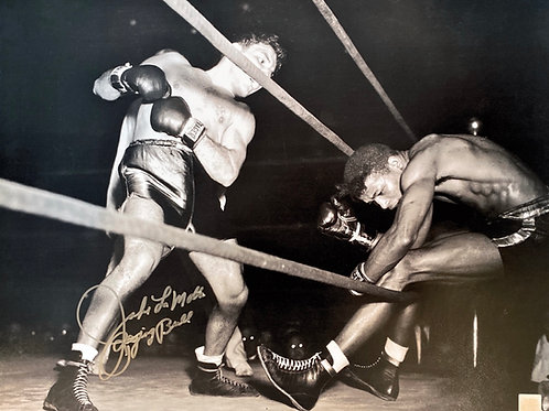 Jake LaMotta - Raging Bull -  Autographed Sugar Ray Knockout Photo