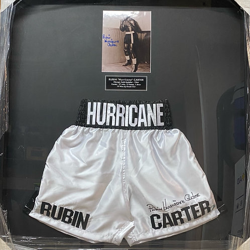 "Rubin ""Hurricane"" Carter Shadowbox Piece with Autographed Trunks and Photo"