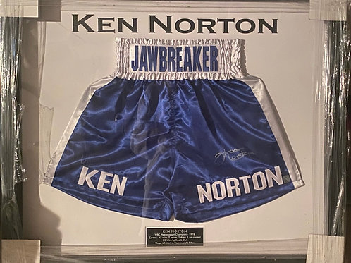 "Ken Norton ""Jawbreaker"" Autographed Trunks - Framed"