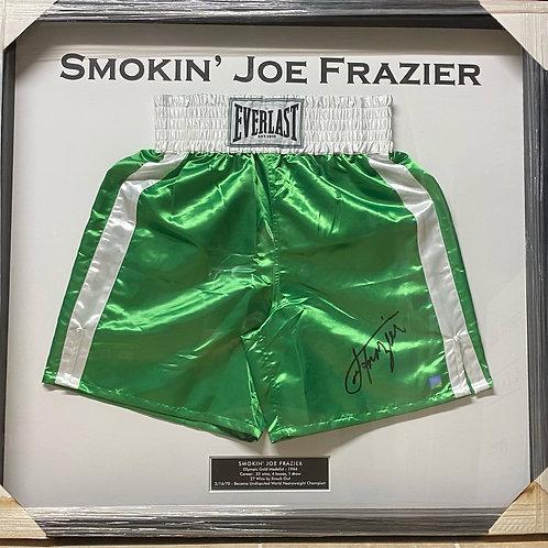 Smokin' Joe Frazier Autographed Trunks - Framed