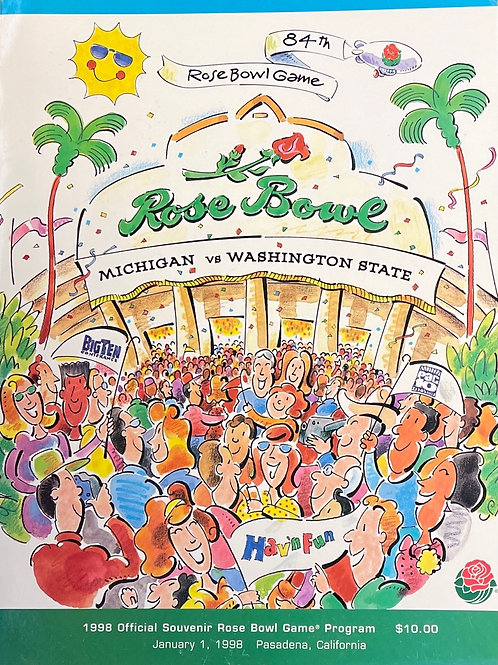 Rose Bowl Program - University of Michigan vs Washington State - January 1, 1998