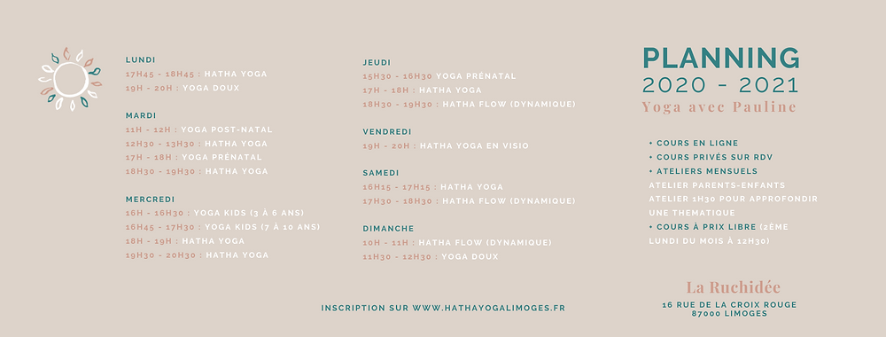 planning cours yoga limoges