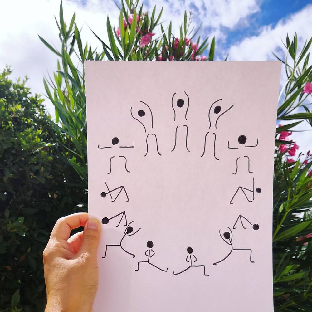 illustration salutation à la lune - yoga avec pauline