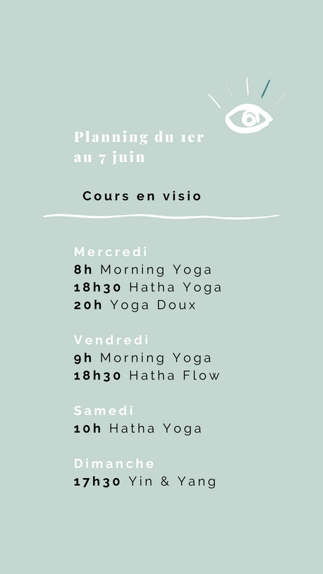 Planning des cours de yoga du 1er au 7 juin