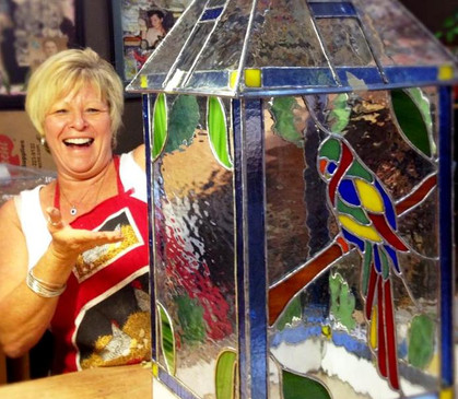 Linda and her beautiful finished terrarium!