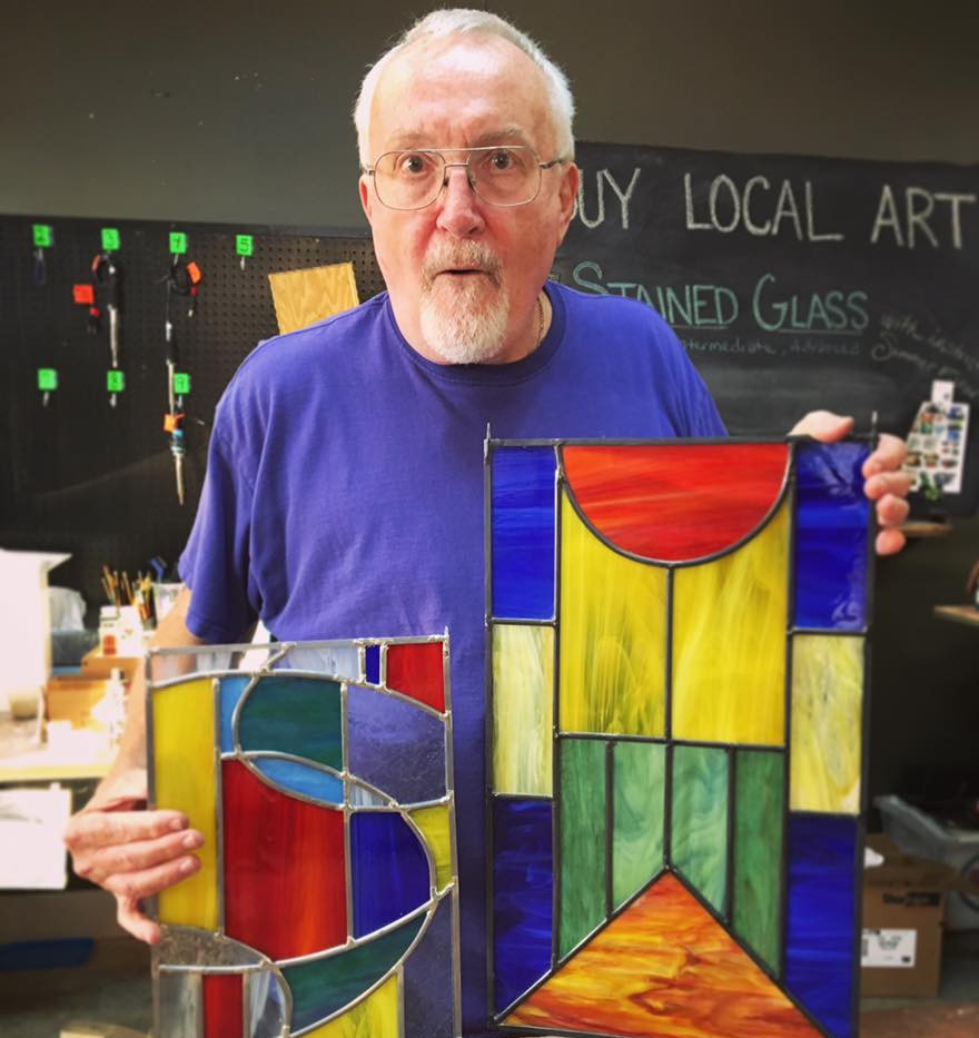 Larry and his stained glass projects