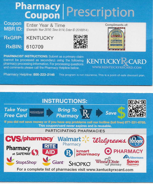 FREE Prescription Discount Card Available!