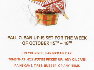 2018 FALL CLEAN UP WEEK